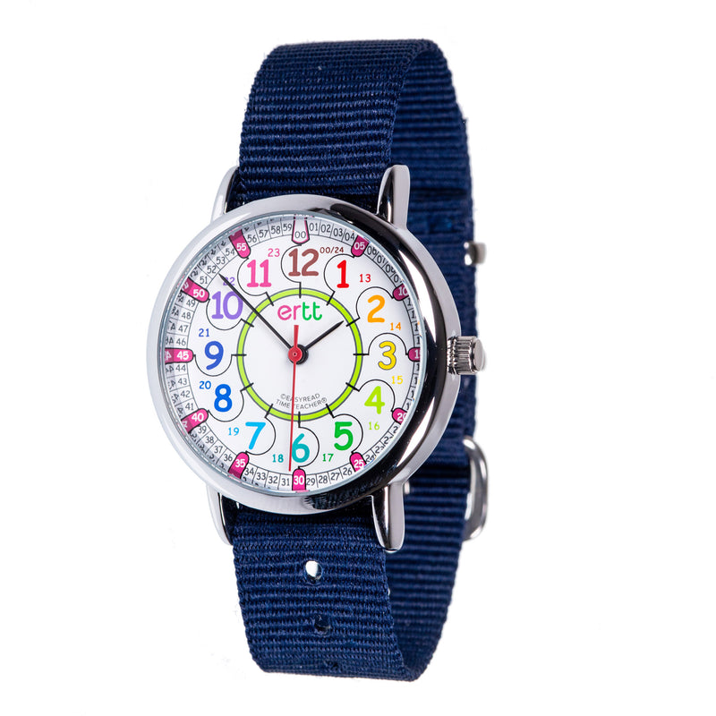 Easy Read Navy and Rainbow Waterproof Watch