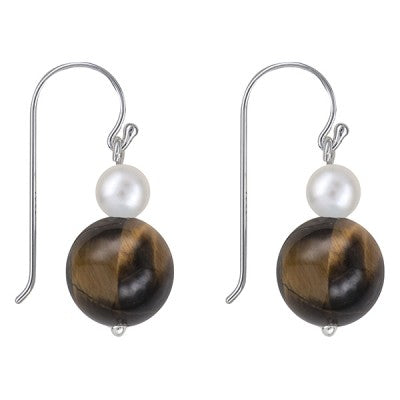 Sterling Silver Freshwater Pearl and Tiger Eye Earrings