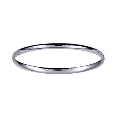 Sterling Silver 4mm Plain Solid Comfort Fit Golf Bangle