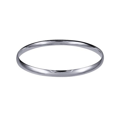 Sterling Silver 5.5mm Plain Solid Comfort Fit Golf Bangle