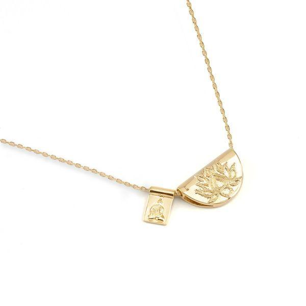 Gold lotus little buddha short necklace