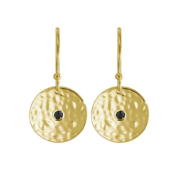 Grace- small disc earrings in 18ct yellow gold plate and black spinel