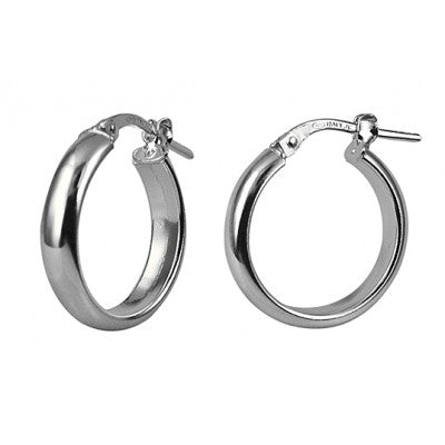 Sterling Silver 15mm Italian Half Round Hoops