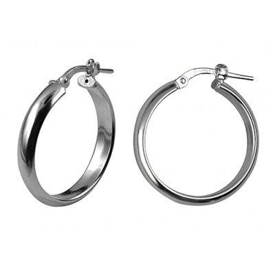 Sterling Silver 20mm Italian Half Round Hoops