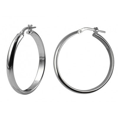 Sterling Silver 30mm Italian Half Round Hoops