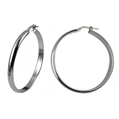 Sterling Silver 40mm Italian Half Round Hoops