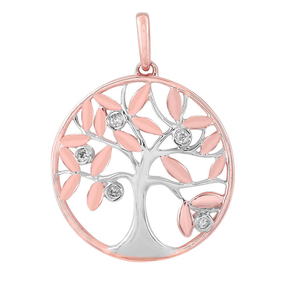 9ct Rose and White Gold Diamond Tree of Life Pendant