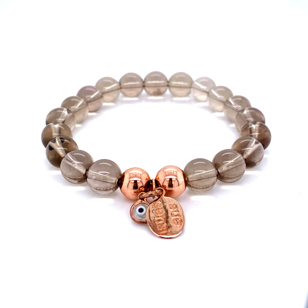 Sue Sensi Must be the one Smokey Quartz and Rose gold Bracelet