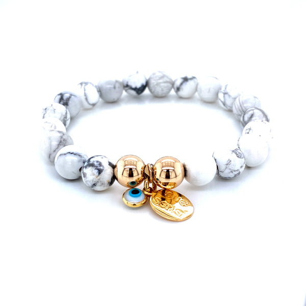 Sue Sensi Must be the one Howlite and Yellow Gold Bracelet