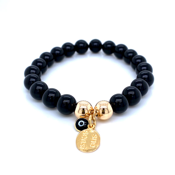 Sue Sensi Must be the one Onyx and Yellow gold Bracelet