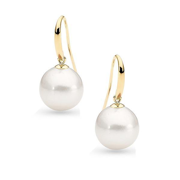 9Ct Yellow Gold Freshwater Pearl Shepherd Hook Earrings