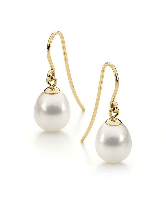 9ct Drop 10-10.5mm Freshwater Pearl Shepard Hook Earrings
