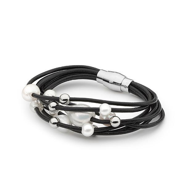 Sterling Silver & Black Leather Freshwater Pearl Bracelet