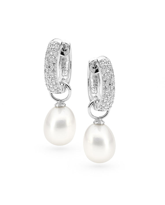 Freshwater Pearl CZ Interchangeable Huggie Earrings