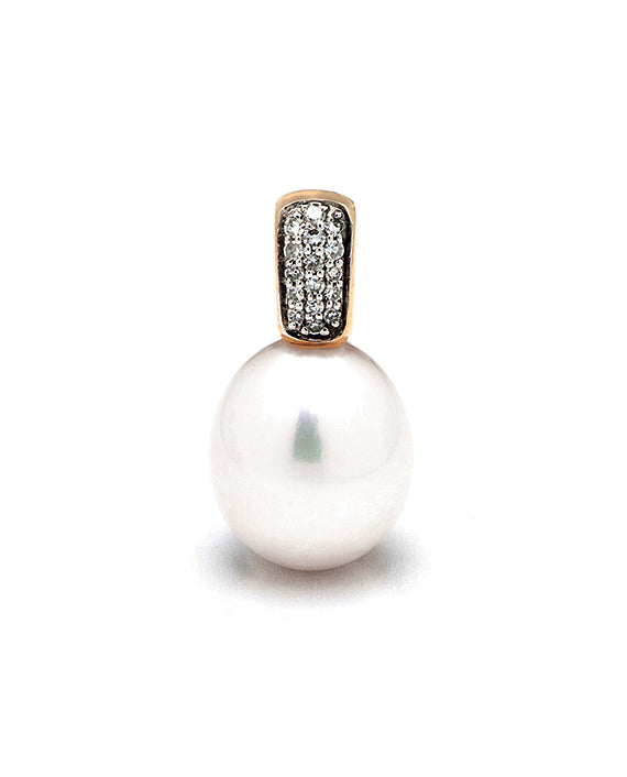9ct 10-10.5mm Freshwater Pearl Diamond Pendant