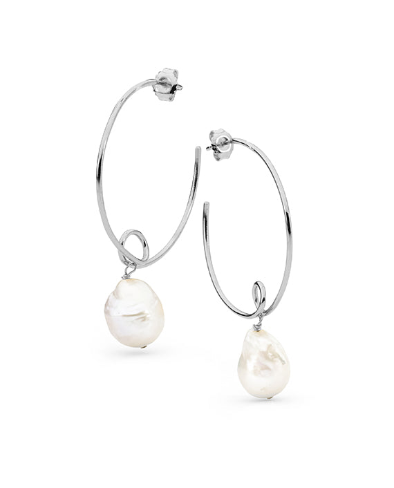 Sterling Silver Drop Edison Hoop Earrings