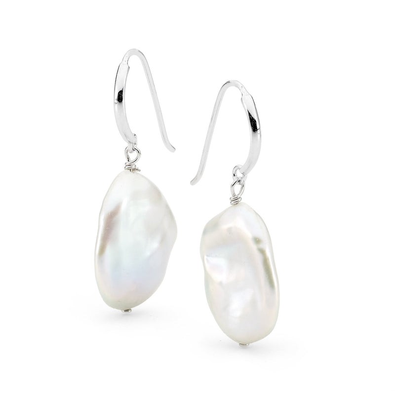Sterling Silver Freshwater Pearl Hook Earrings