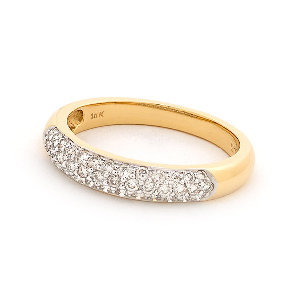 18ct Yellow Gold 3 Row Pave Diamond Ring 0.47ct