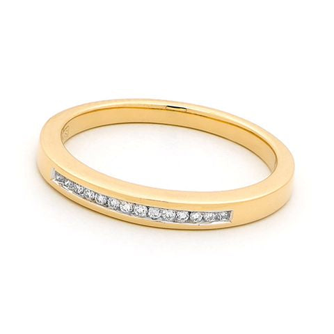 18ct Yellow Gold Channel Set Diamond Ring 0.07ct
