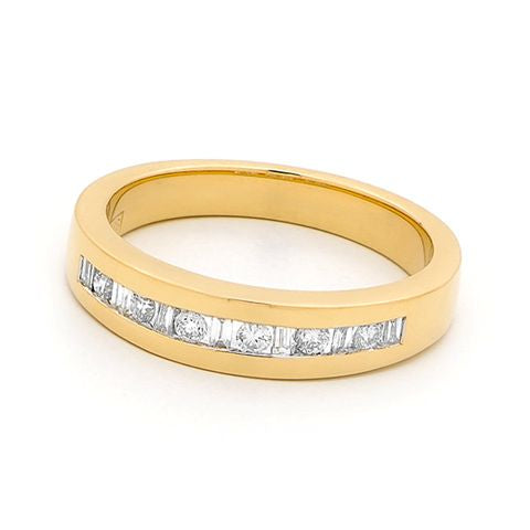 18ct Yellow Gold Channel Set Diamond Ring 0.28ct