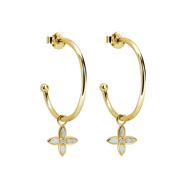 Murkani Desert Flower Medium Hoop Earrings In 18 KT Yellow Gold Plate