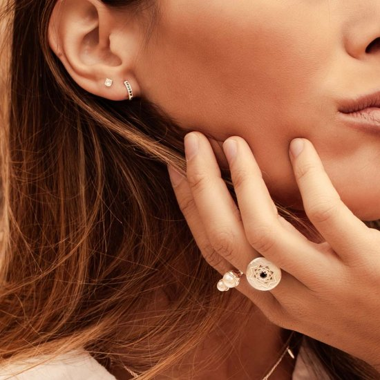 Murkani Petites 3mm White Topaz Stone Earrings Set In Rose Gold Plate