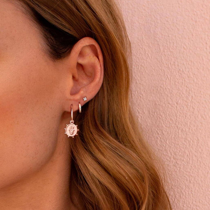 Murkani Petites 9mm Hoop Earrings With White Topaz In Rose Gold Plate