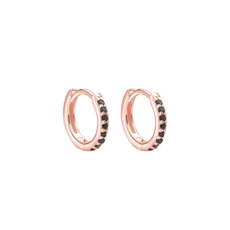 Murkani Petites 11mm Hoop Earrings With Black Spinel In Rose Gold Plate