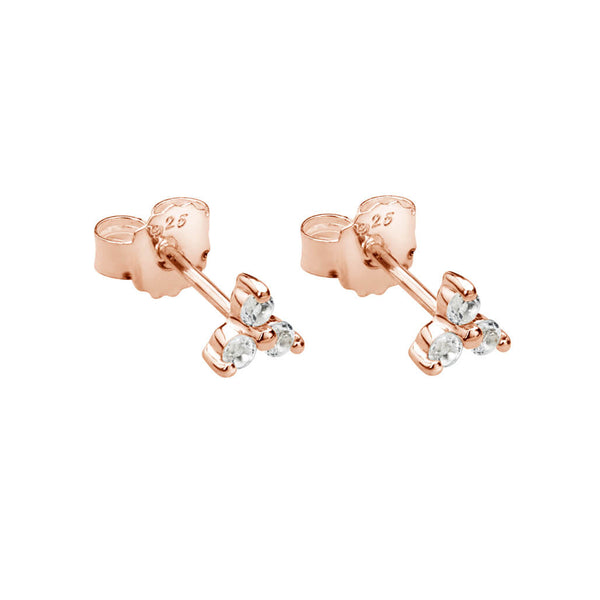 Murkani Trinity Ball Stud Earrings With White Topaz In Rose Gold Plate