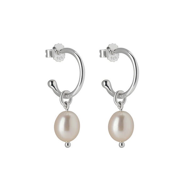 Murkani Petites Small Hoop With Pearl Drop Earrings In Sterling Silver