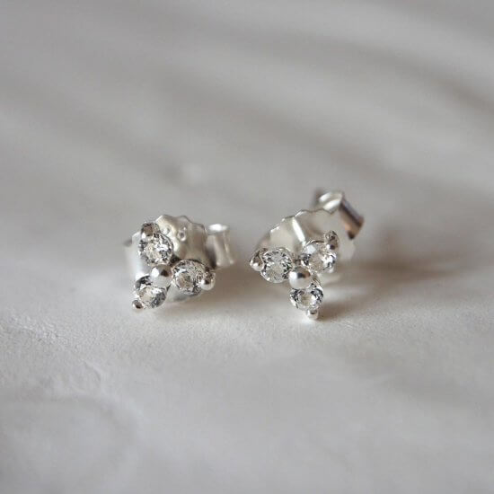 Murkani Trinity Ball Stud Earrings With White Topaz In Sterling Silver