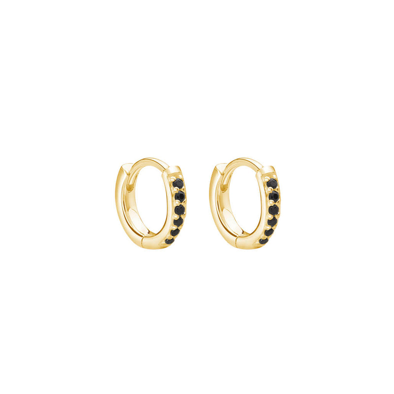 Murkani Petites 9mm Hoop Earrings With Black Spinel In 18 KT Yellow Gold Plate