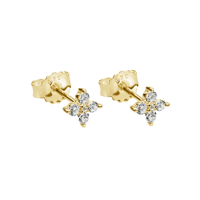 Murkani Clover Studs With White Topaz In 18 KT Yellow Gold Plate