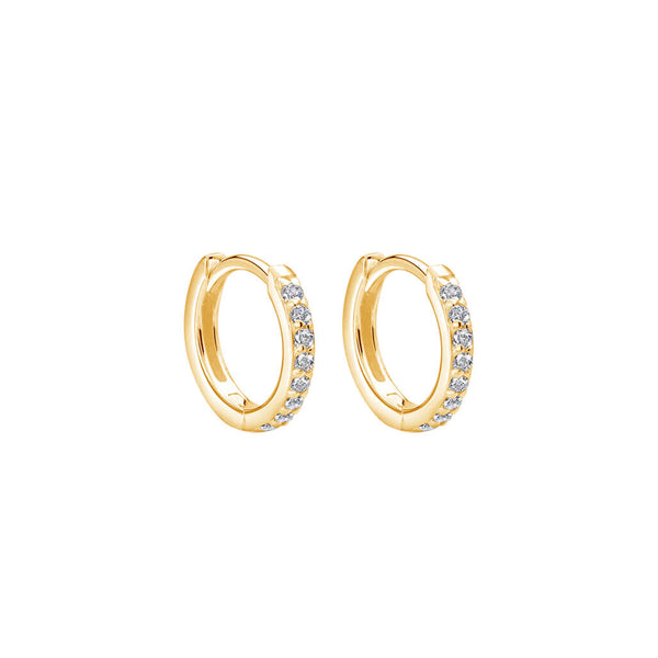 Murkani Petites 11mm Hoop Earrings With White Topaz In 18 KT Yellow Gold Plate