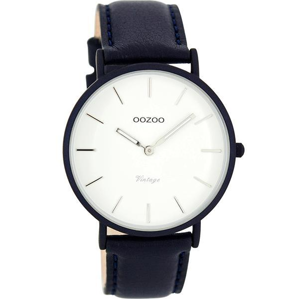 OOZOO 40mm Vintage Style Navy Leather Watch