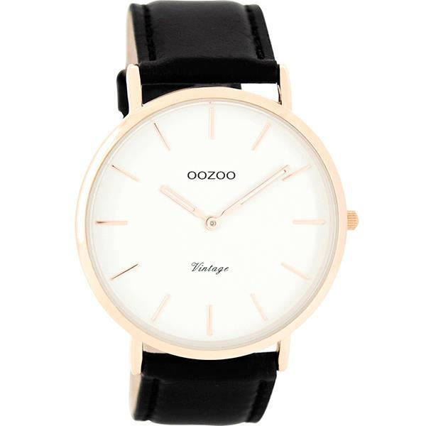 OOZOO 44mm Vintage Style Rose gold Leather Watch