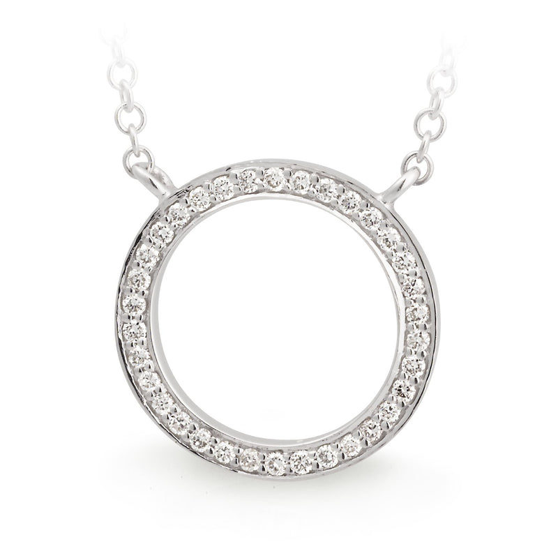 Diamond Bead Set Circle Pendant in 9ct White Gold