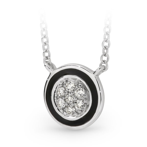 Bead Set Diamond with Black Enamel Necklet