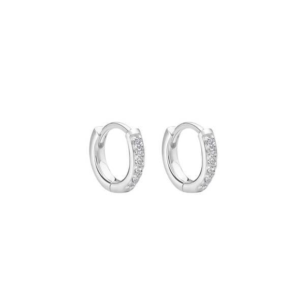 Murkani Petite 9mm hoop earrings with white topaz in sterling silver
