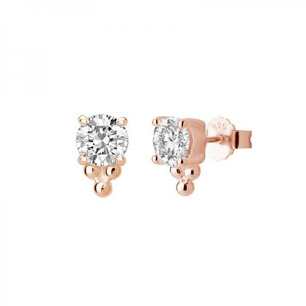 Petites- medium studs 6mm white topaz in rose gold plated