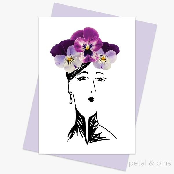 Petal & Pins Pansy Hat Greeting Card