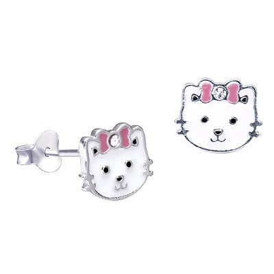 Sterling Silver White Enamel Cat with Pink Bow & Crystal Studs