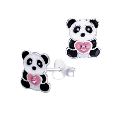 Sterling Silver Enamel Panda with Pink Heart and Crystal Studs