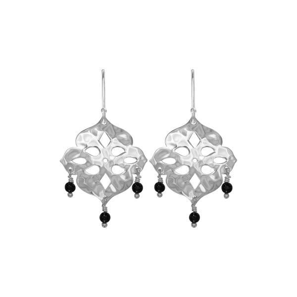 Thai Princess- drop earrings in sterling silver with black onyx stones
