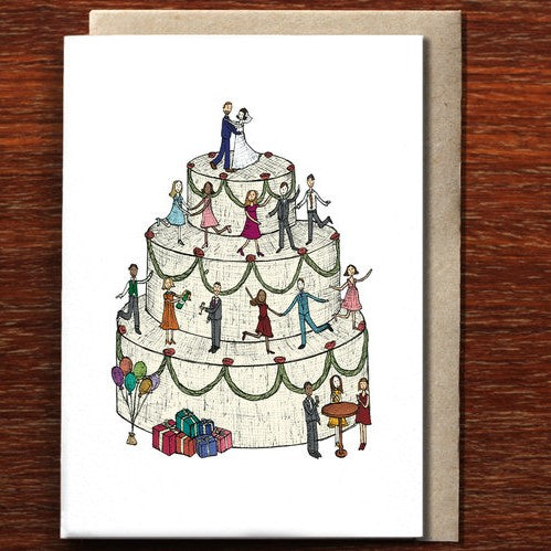 The Nonsense Maker Wedding Cake- Bride & Groom - Greeting Card