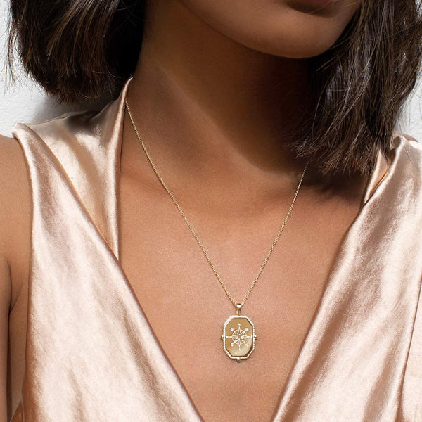 Murkani Compass Necklace Yellow Gold Plate