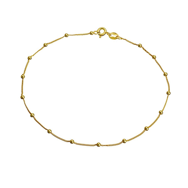 Yellow Gold Ball Anklet