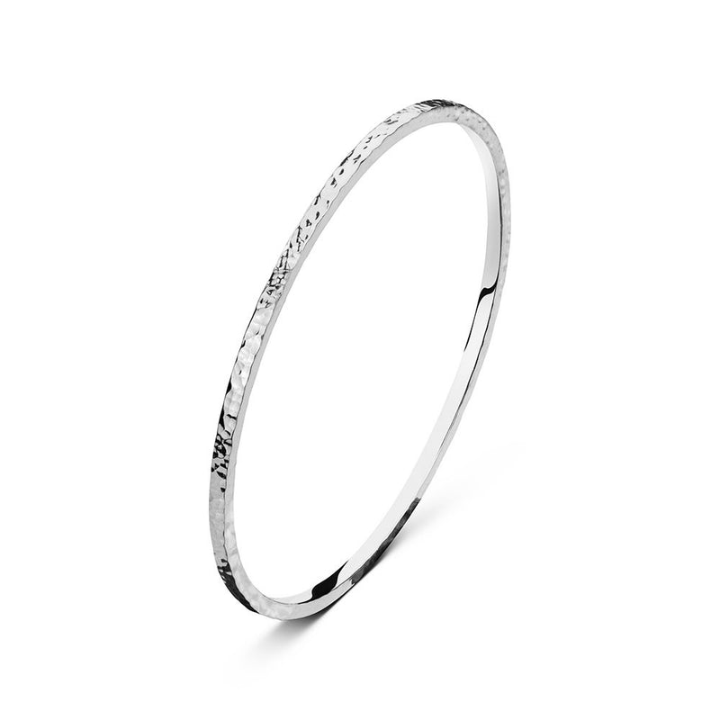 Sterling Silver Beater Finish Bangle