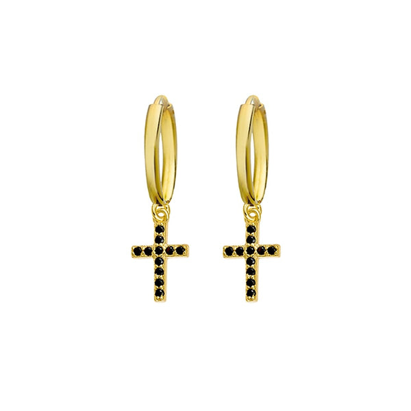 Yellow Gold Drop Cross Huggies