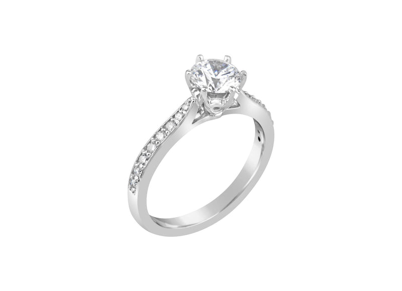 18ct White Gold Round Brilliant Cut Diamond Ring